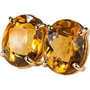 9.50ctw Solitaire Citrine Studs 14k Gold Pierced Stud Natural Citrine Earrings