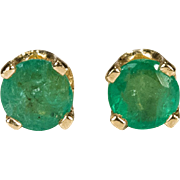 Genuine Emerald Earrings 14k Gold Pierced Studs