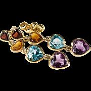 Journey Hearts Of Garnet Citrine Topaz Amethyst Earrings 14k Gold Bezel Set Gemstone Chain Heart Earrings