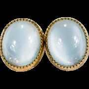 Blue Moonstone Earrings 14k Gold Bezel Set Natural Moonstone Studs