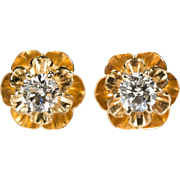 Solitaire Diamond Earrings 14k Gold Buttercup Flower Diamond Studs