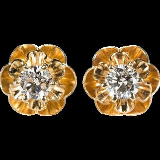 Solitaire Diamond Earrings 14k Gold Buttercup Flower Diamond Studs