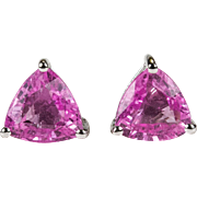 Solitaire Trillion Cut Pink Sapphire Studs 14k Gold Genuine Sapphire Earrings