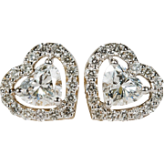 1.05ctw Heart Diamond Stud Earrings 10k Gold Screw Back Heart Diamond Earrings