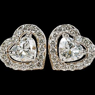 Heart Diamond Stud Earrings 10k Gold Screw Back Heart Diamond Earrings