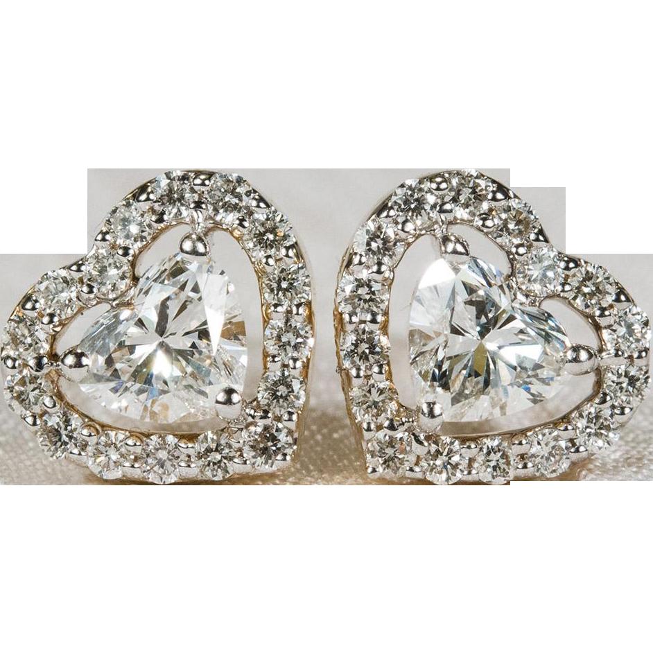 Diamond heart earrings - 1 05ctw Heart Diamond Stud Earrings 10k Gold Screw Back Heart Diamond Earrings