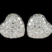 Pave Diamond Heart Earrings 14k Gold Heart Diamond Studs