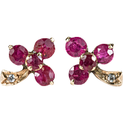 Natural Ruby Shamrock Studs 12k Gold Clover Ruby Diamond Stud Earrings