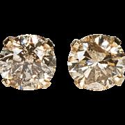 Natural Champagne Diamond Stud Earrings 14k Gold Solitaire Diamond Earrings Pierced Studs