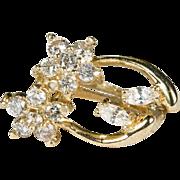 Natural Diamond Stud Earrings 14k Gold Diamond Flower Studs