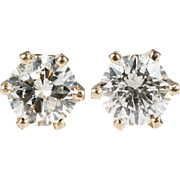 Classic Solitaire Diamond Stud Earrings 14k Gold .63ctw Natural Diamond Studs