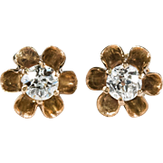 Old European Cut Diamond Earrings 14k Gold Buttercup Diamond Stud Earrings