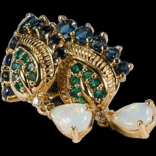Franklin Mint Peacock Sapphire Emerald Diamond Opal Earrings 585 14k Gold