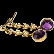 Natural Amethyst Pea Pearl Tulips 9k Gold Dangle Pierced Earrings