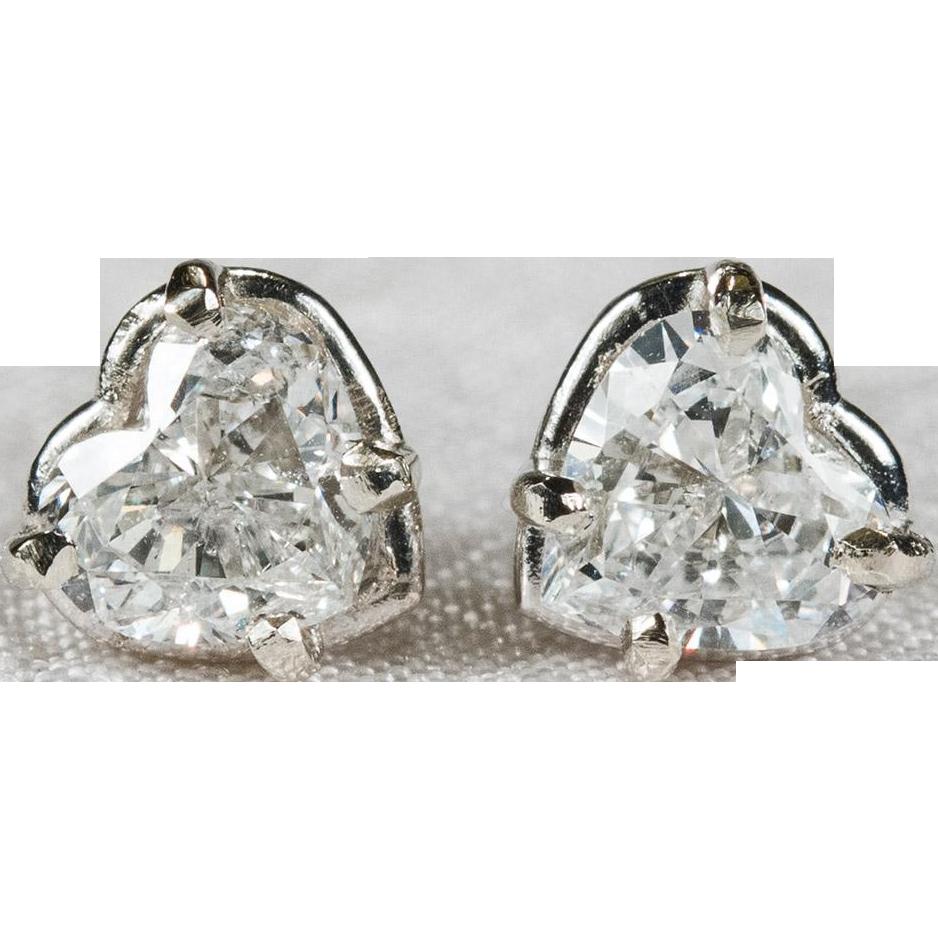 Diamond heart earrings - Heart Diamond Solitaire Studs 14k Gold Heart Diamond Earrings