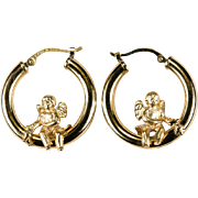 Swinging Cupid Hoops 14k Gold Designer Hoop Earrings