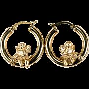 Swinging Cherub Cupid Hoops 14k Gold Designer Hoop Earrings