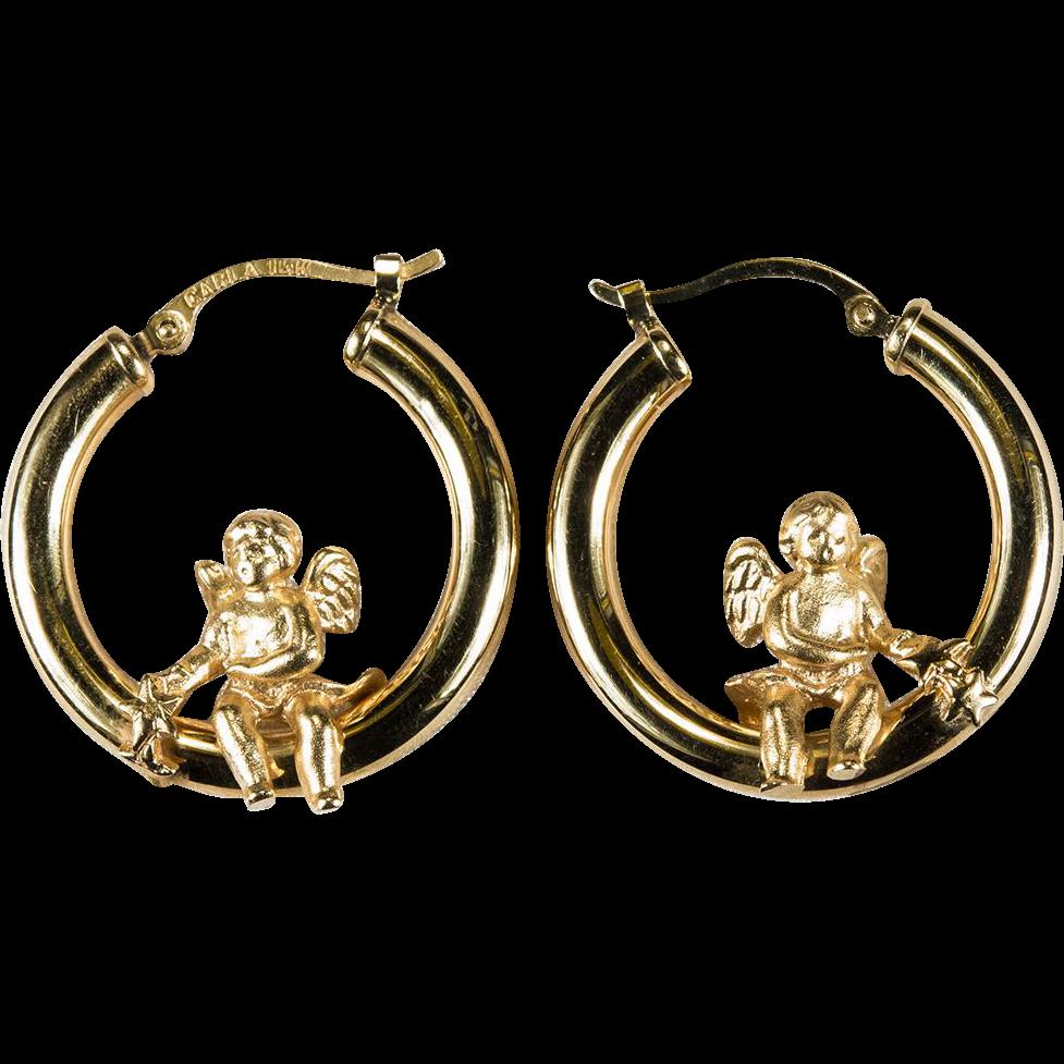 swinging cupid hoops 14k gold designer hoop earrings from
