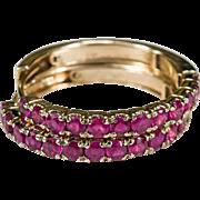 """Luxurious 1"""" 3.60ctw Ruby Hoops 585 14k Gold Genuine Ruby Hoop Earrings"""