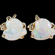 Natural Opal Heart Diamond Earrings 14k Gold Heart Opal Studs