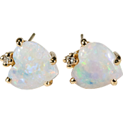 Natural Opal Heart Diamond Earrings 14k Gold Heart Opal Studs