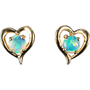 Natural Opal Heart Earrings 14k Gold Opal Studs