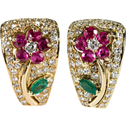 3.38ctw Diamond Ruby Emerald Earrings 750 18k Gold Gemstone Flower Earrings