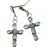 Opal Cross Earrings 925 Sterling Silver Opal Earrings