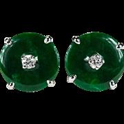 Imperial Jade Diamond Earrings 14k Gold Button Stud Jade Earrings