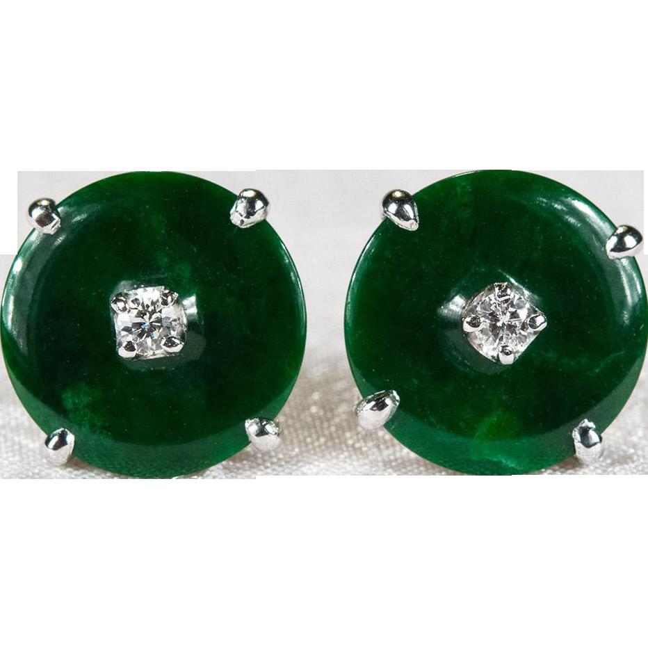 Imperial Jade Diamond Earrings 14k Gold On Stud Tanya S Treasures Ruby Lane