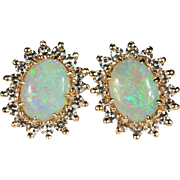 Diamond Opal Studs 2.28ctw 14k Gold Natural Opal Diamond Earrings