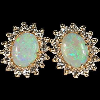 Diamond Opal Studs 2.28ctw 14k Gold Natural Opal Diamond Earrings