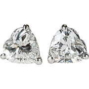 1.25ctw Heart Diamond Stud Earrings Platinum Solitaire Heart Diamond Studs