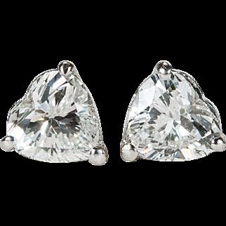 1.25ctw Heart Diamond Stud Earrings Platinum Solitaire Heart Diamond Studs