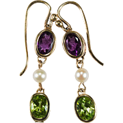 Suffragette Earrings Amethyst Peridot Pearl 12k Gold Dangle Pierced Pearl Amethyst Peridot Earrings