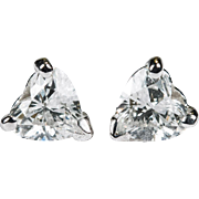 Heart Diamond Solitaire Studs .70ctw 585 14k Gold Diamond Heart Stud Earrings Diamond Earrings