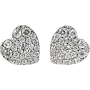 Pave Diamond Heart Studs 1.15ctw 10k Gold Natural Diamond Earrings