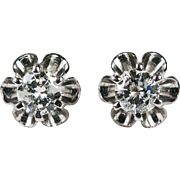 Solitaire Diamond Studs .67ctw 14k Gold Buttercup Diamond Earrings