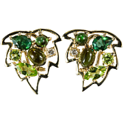 Tourmaline Peridot Diamond Earrings 14k Gold 585 Mixed Gemstone Maple Leaf Earrings