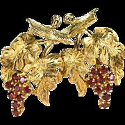 Natural Garnet Grape Earrings 750 18k Gold Hand Crafted Pierced Omega Back Grape Vine Garnet Earrings