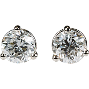 Solitaire Diamond Studs .92ctw VS 14k Gold Martini Set Natural Diamond Earrings