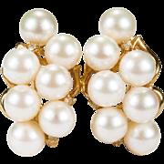 Genuine Cultured Pearl Diamond Earrings 14k Gold Pearl Cluster Earrings