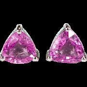 Solitaire Pink Sapphire Studs 14k Gold Trillion Cut Sapphire Earrings