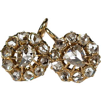 Antique 2ctw Old Rose Cut Diamond Earrings 18k Gold Openwork Diamond Earrings