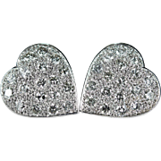 2.35ctw Pave Diamond Heart Stud Earrings Platinum Diamond Earrings