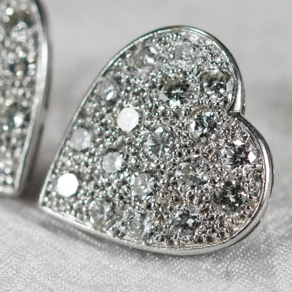 Diamond Heart Earrings - Roll over large image to magnify click large image to zoom