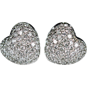 Diamond Heart Stud Earrings 14k Gold 1.56ctw Puffy Heart Pave Diamond Studs