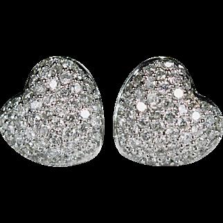 Diamond Heart Stud Earrings 14k Gold 1.56ctw Puffy Heart Pave Diamond Studs