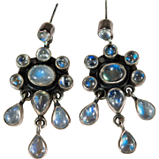 Natural Blue Moonstone Earrings 925 Sterling Silver Moonstone Chandelier Dangle Earrings