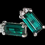 Tourmaline Diamond Earrings Platinum Screw Back Studs Natural Tourmaline Stud Earrings